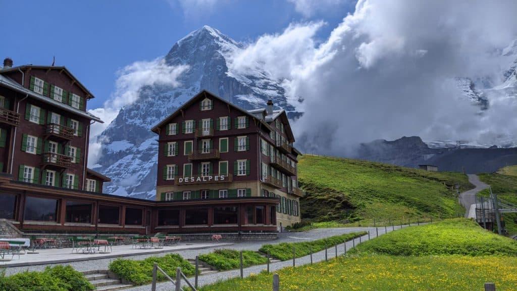 Hotel Bellevue des Alpes on Kleine Scheidegg. In the background the Eiger north face.