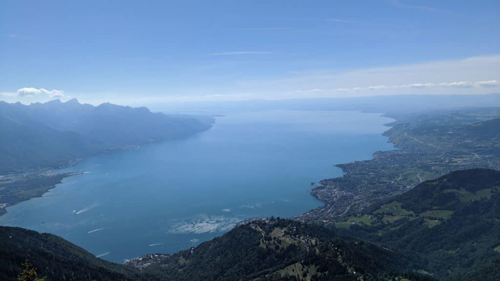 View over lake Geneva from Rochers-de-Naye, Switzerland