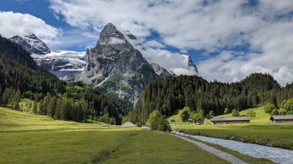 View of the Swiss Alps shortly before arrving at Rosenlaui, Switzerland