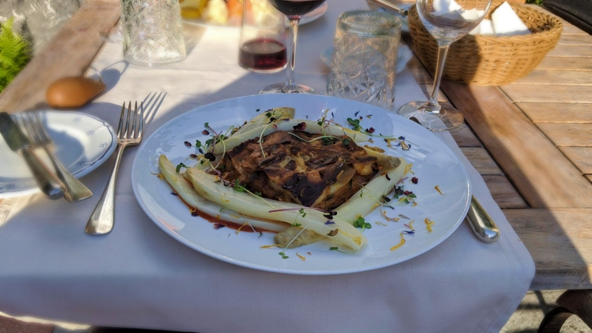 Lasagne with aspargus at hotel Schönegg Wengen, Switzerland