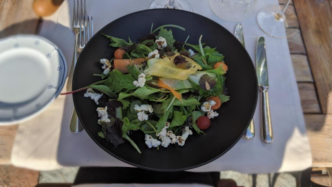 A summer salad with popcorn at hotel Schönegg in Wengen, Switzerland