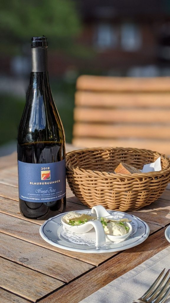 Pinot Noir from Pircher with Amuse-Bouche at Hotel Schönegg in Wengen, Switzerland