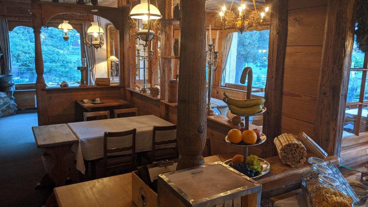 The dining room in hotel Schönegg in Wengen, Switzerland