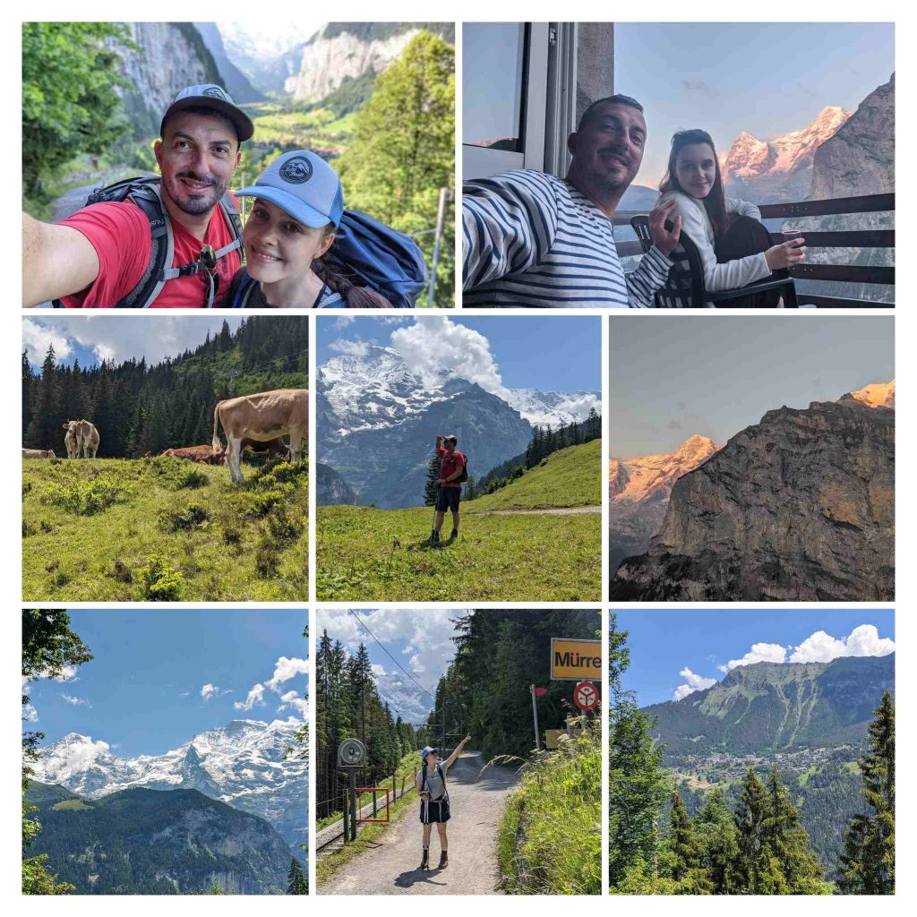 A collection of pictures from the hike on the Via Alpina from Wengen to Mürren, Switzerland.