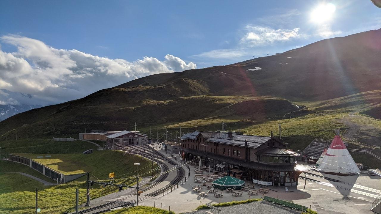 View over Kleine Scheidegg, Switzerland. View of the trainstation on Kleine Scheidegg.