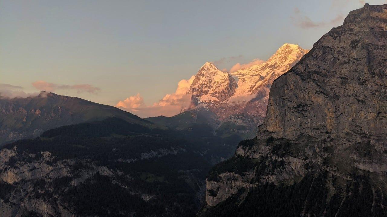 View from the balcony in Hotel Edelweiss in Mürren to mount Jungfrau & Kleine Scheidegg