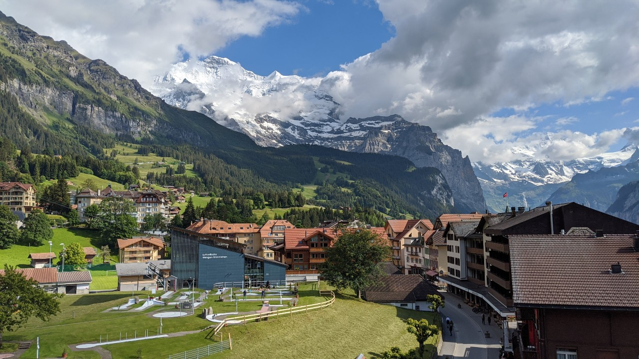 View over village of Wengen, Switzerland. In the background mount Jungfrau.